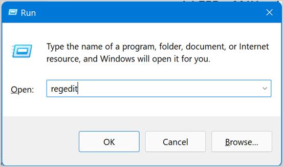 Open Registry Editor in Windows 11
