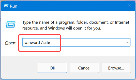 Open Word in Safe Mode