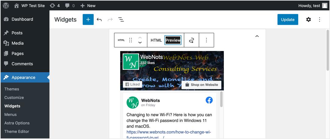 Предварительный просмотр виджета в WordPress