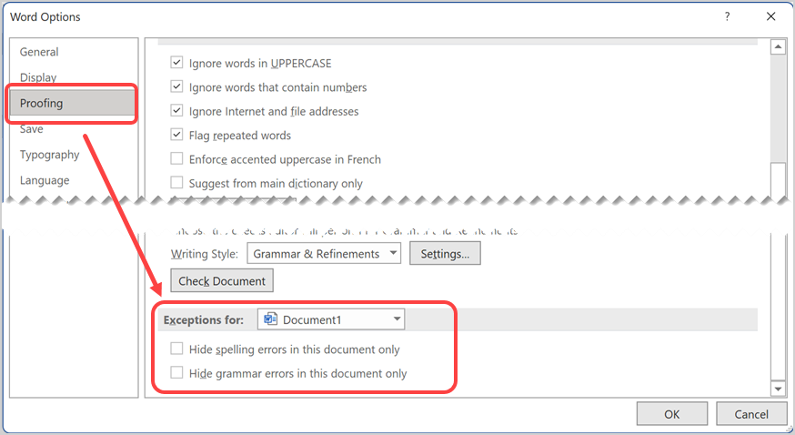 Proofing Exceptions in Word