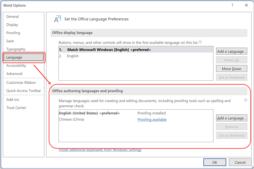 Proofing Language in Word