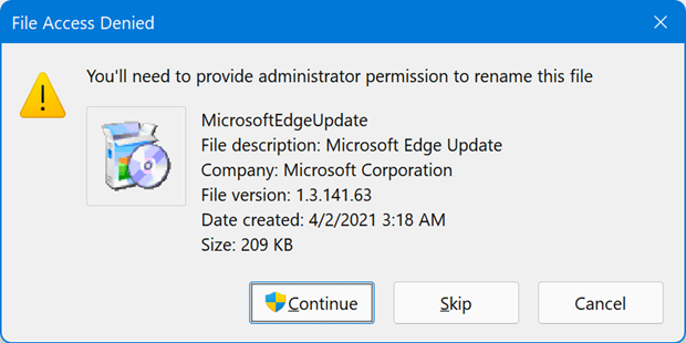 Provide Admin Access for File Name Change