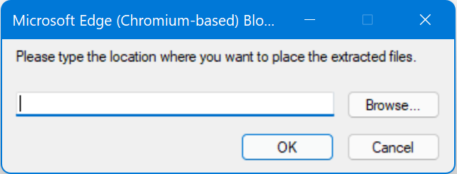 Select Location for Extract