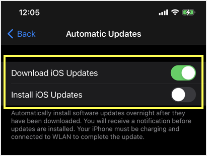 Setup Downloading and Installing iOS Updates