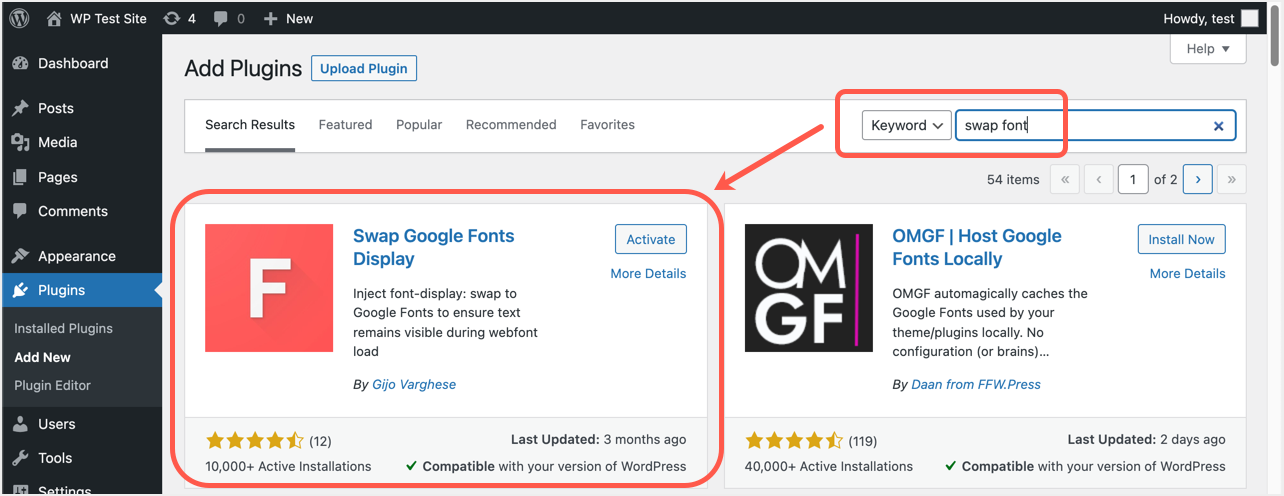 Swap Google Fonts Plugin