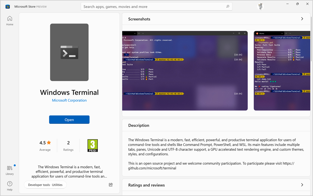 Windows Terminal App in Microsoft Store